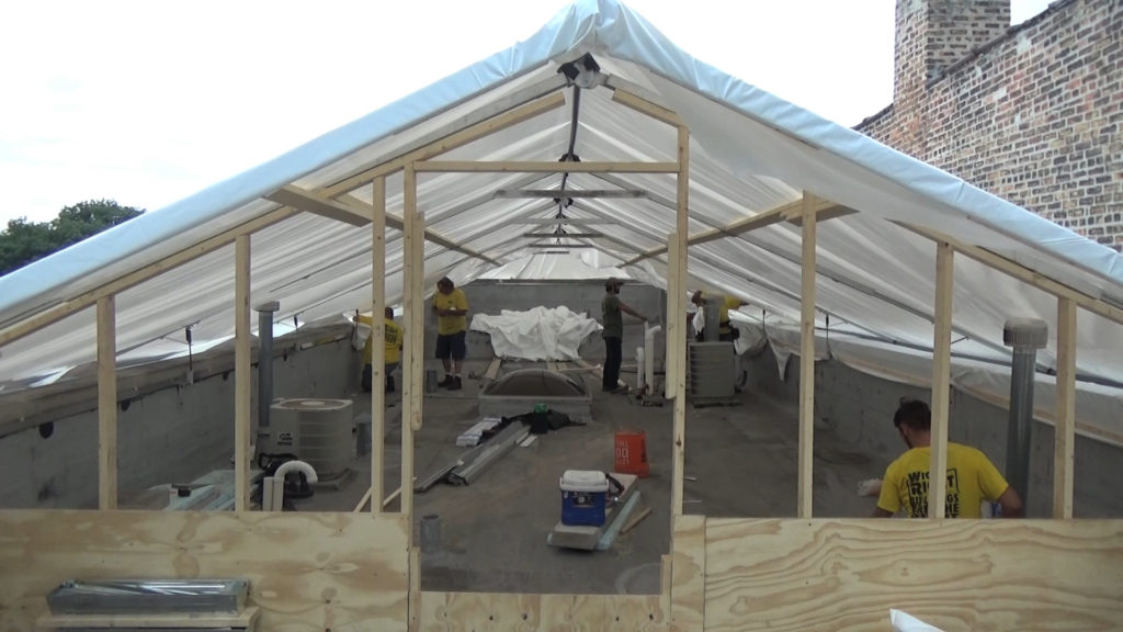 Front wall of tent with entryway and knee wall